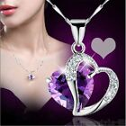 Fashion Women Heart Crystal Rhinestone Silver Chain Pendant Necklace Jewelry tb