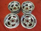 SET OF POLISHED 15X8.5  6-LUG US STYLE INDY SLOT MAG WHEELS CHEVY DATSUN GASSER