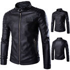 Fashion Men's PU Leather Motorcycle Coats Jackets Washed Biker Leather Outwear