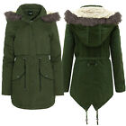 Brave Soul Womens Felstead Padded Jacket Faux Fur Hooded Quilted Warm Parka Coat