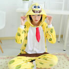 NEW Unisex Adult Pajamas Kigurumi Cosplay Costume Animal Onesie Sponge Bob