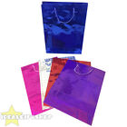 SHINY METALLIC GIFT BAGS BLUE RED SILVER PINK PURPLE CHRISTMAS WEDDING BIRTHDAY
