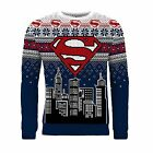Adults Official DC Comics Superman Christmas Jumper Knitted Xmas Sweater