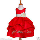 CHRISTMAS RED IVORY SASH PICK UP FLOWER GIRL DRESS 6M 12M 18M 2/2T 4T 6 8 10 12