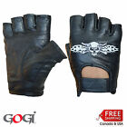 Gogi real Leather Fingerless Weight Training Cycling gloves with embroidery skul