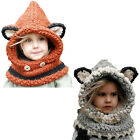 Fox Shawl Kids Girl Boy Warm Winter Hat Scarf Woolen Earflap Hood Scarves Ear US