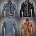 New Men Winter Coat Collar Motorcycles Leather Jacket Outwear Warm Fashion