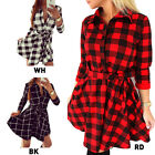 Women Shirt Dress Leisure Vintage Fitted Waist Fashion Plaid Check Print Dresses