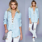 Fashion Women Casual Loose Shirts Long Sleeve Party T-Shirt Blouse Long Tops New