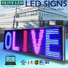 """OLIVE LED Sign 3Color RBP 19""""x52"""" PC Programmable Scroll. Message Display EMC"""