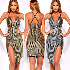2016 Fashion Women Gold Slim Sequins Mini Dress Bodycon Backless Party Cocktail