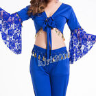 Women Belly Dance Costume Indian Yoga Dancewear Lace Top Plus Size 6 Colors