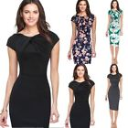 Womens Office Lady Formal Business Work Party Floral Sheath Tunic Pencil Dress