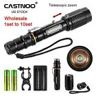 1 to 10 PCS 8000 LM Tactical Flashlight Torch+Charger+18650 Battery US Stock KJ