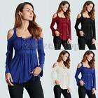 ZANZEA Elegant Women Off Shoulder Deep V Lace Up Crochet Embroidered Blouse Tops