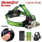 1 to 10 Set 20000 LM CREE T6 3 LED Rechargeable Headlamp Torch+18650+Charger UP