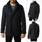 Threadbare Mens Wool Mix Jacket New Collared Double Breasted Lined Winter Coat