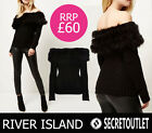 NEW River Island Black Knitted Feather Trim Off Shoulder Bardot Jumper 6 8 10 12
