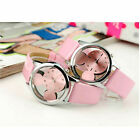 Fashion Womens Watch Kid Stainless Steel Leather Quartz Analog Wrist Watch Reloj