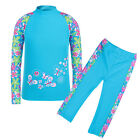 2pcs Girls Flower UV 50+ Sun Protective Swimsuit Tops + Pants Set Swimwear 3-12Y