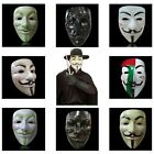 Halloween Masks V for Vendetta Mask Guy Fawkes Anonymous Fancy Costume -8 Colors