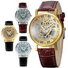Classic Men's Leather Gold Dial Skeleton Quartz Battery Sport Army Wrist Watch