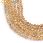 Natural Gemstone Rutilated Quartz Beads For Jewelry Making Jewelry Beads 15""