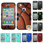 For Apple Iphone 4/4s Hybrid Tuff Impact Phone Case Hard Rugged Cover