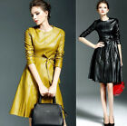 Womens  PU Leather Motor Slim Fit Dress Long Sleeves Belt Round Collar Skirt New