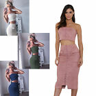 Sexy Women 2pc Bandage Pocket Bodycon Club Party Suede Top&Skirt Over Hip Dress