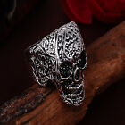 Fashion Men Rock Punk Floral Skull Head Biker Finger Ring Band Charm Jewelry New