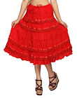 Carrel Imported Cotton Fabric Solid Frilly Midi Length Skirt For Women. 3480