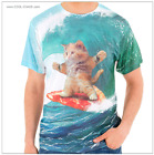 Surfing Cat T-Shirt / COOL GRAPHIC, SURF PIZZA KITTY CAT Sublimation Tee