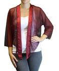 New Women's Plus Size 3/4 Sleeve Red Burgundy Bolero Cardigan Sizes 3X