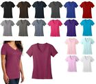 LADIES LIGHTWEIGHT, V-NECK, PRESHRUNK COTTON T-SHIRT, SHORT SLEEVE S-XL 2X 3X 4X