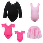 Kids Girls Gymnastic Ballet Leotard School Training  Bodysuit Tutu Skirt 3-14Y