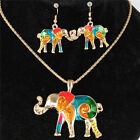 Gold Silver Elephant Necklace Earrrings Jewelry Sets Birthday Party Friend Gift