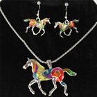 Gold Silver Horse Necklace Earrrings Chain Jewelry Sets Party Girl Friend Gift