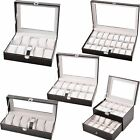 10/12/20/24 Grid Faux Leather Watch Display Box Storage Case Organiser 100% New
