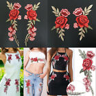 Rose Flower Applique Badge Embroidered Sew on Floral Collar Patch Dress Craft