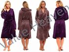 Ladies VELVET Touch Fleece Dressing Gown Hooded Luxury Hood Purple Mink Robe Tie