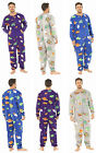 Mens Fleece Onesies Novelty Hooded Cartto Pyjamas Zipped Winter Blue Grey Purple