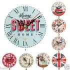 Vintage Non-Ticking Silent Antique Wood Wall Clock for Home Kitchen Office B-SKY