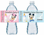 20 MICKEY MOUSE OR MINNIE MOUSE BABY SHOWER WATER BOTTLE LABELS GLOSSY