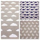 NATURAL LINEN LOOK COTTON FABRIC - WHALES RABBITS  CLOUDS washable CURTAINS