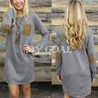 Ladies Pullover Casual loose Cotton Long Sleeve Shirt Blouse Party Mini Dress