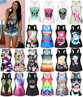Women's Digital Print Tank Tops Vest Gothic Punk Sleeveless T-shirt Clubwear Tee
