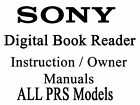 PRS Sony Digital Book Reader Touch Manual (ALL MODELS) $11.95 USD