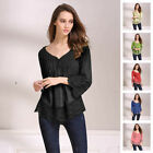 Women Fashion Long Sleeve Ladies Tops Loose T-Shirt Blouse Summer Tee Black