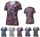 LADIES MOISTURE WICKING, SCOOP NECK, SHORT SLEEVE, GRANITE PRINT T-SHIRT, XS-4XL